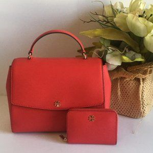 Tory Burch Red  Emerson Structured Satchel bundle